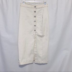 FREE PEOPLE Cream Denim straight button skirt
